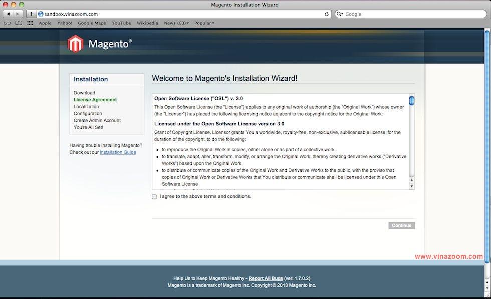 Cài đặt Magento bước 1
